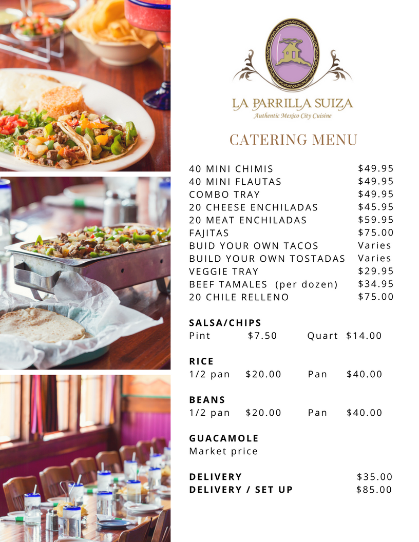 Catering from La Parrilla Suiza Price List